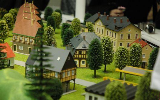 Обои Проект посёлка, крохотные дома и деревья