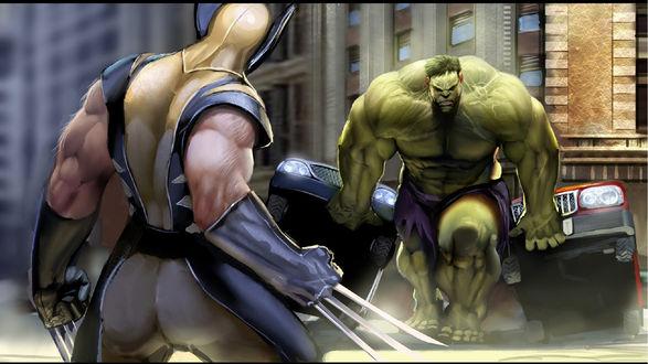 Обои Битва Халка / Hulk против Росомахи / Wolverine, Халк переворачивает машины