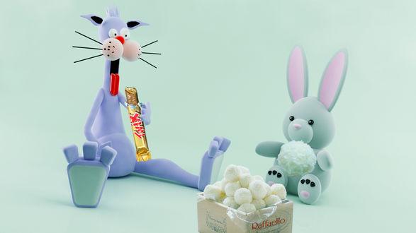 Обои Мультяшные кот и заяц лакомятся сладостями: Кот жадно поедает Твикс / Twix, Заяц наслаждается конфетами Рафаэлло / Raffaello