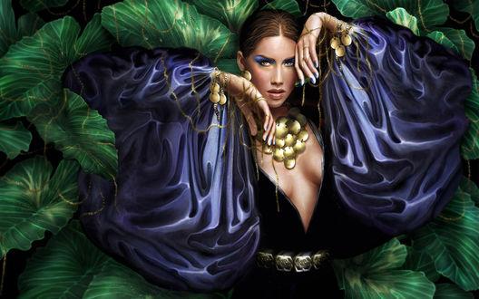 Обои Девушка в цыганском костюме увешанная украшениями, спряталась в зарослях из огромных листьев