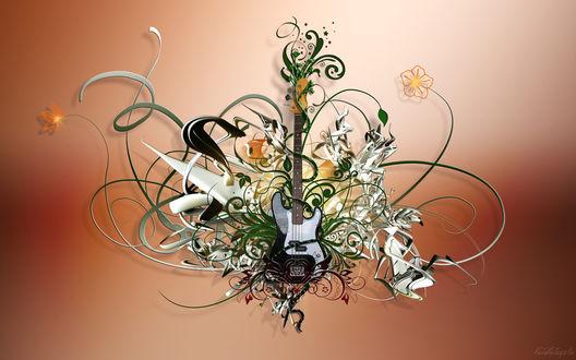 Обои Гитара в трехмерной абстракции с цветочным мотивом