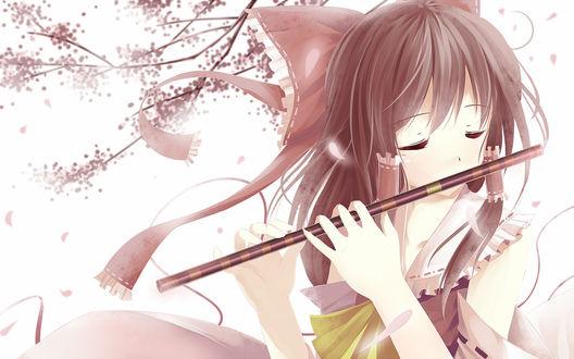 Обои Hakurei Reimu /Хакурей Рейму из серии игр Тохо / Touhou Project / Проект «Восток» весной играет на флейте
