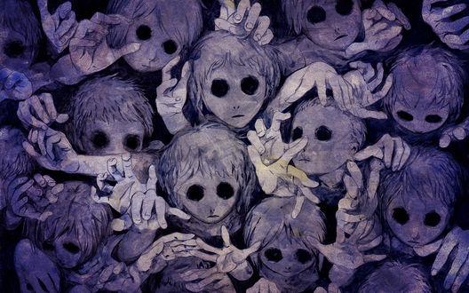 Обои Зомби тянут  свои руки вверх к жертве