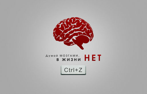 Обои Красный мозг с подписью (Думай мозгами, в жизни нет Ctrl+Z)