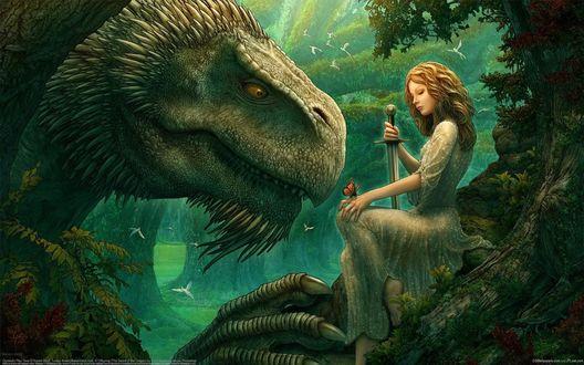 Обои Лесная фея и дракон (Kerem Beyit)
