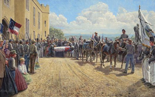 Обои В американском городке проводятся похороны одного из солдат