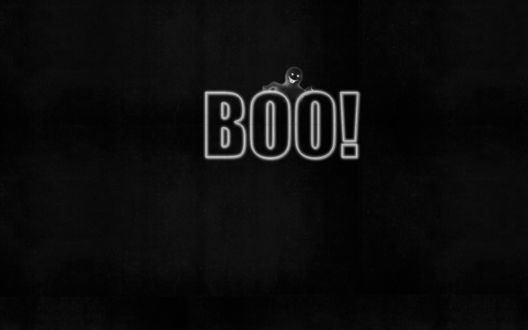 Обои Приведение над словом Boo!