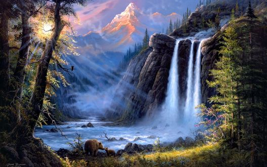 Обои Медведь и медвежонок пришли на водопой к быстрой реке с водопадом