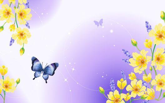 Обои Желтые цветы и бабочки