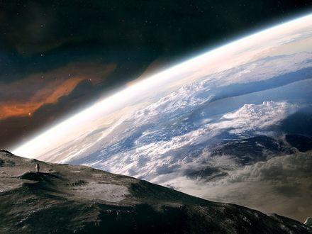 Обои Космонавт на неизвестной планете