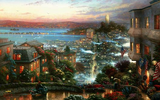 Обои Уютный городок у моря ночью (Томас Кинкейд / Thomas Kinkade)