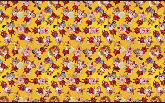 Обои Детская текстура с мишками, свинками, зайчиками, котиками и львами