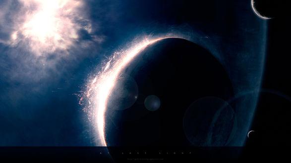 Обои Вспышки на планете в огромном темном космосе (at last light)