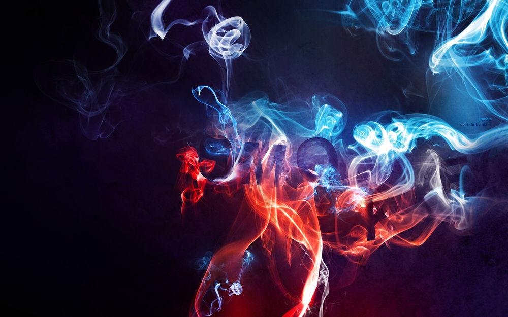Обои для рабочего стола Цветной дым на темном фоне складывается в слово Smoke
