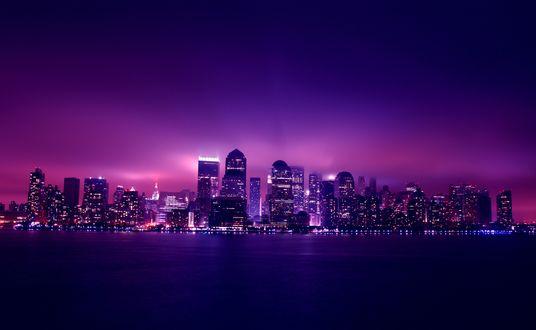 Обои Манхэттон / Manhattan, Нью-Йорк /New York City, США / USA ночью