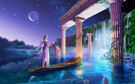 Обои Девушка на лодке плывет между колон замка к водопаду