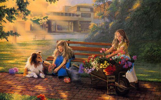 Обои Две девочки продают цветы с тележки, а рядом с ними лежит колли (Rottinghaus)