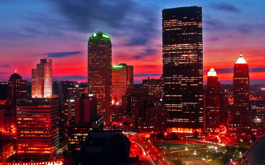 Обои Сверкающий огнями  Питтсбург / Pittsburgh ночью