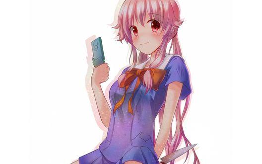 Обои Gasai Yuno / Юно Гасай из аниме «Дневник Будущего / Future Diary / Mirai Nikki» с мобильником в руке и ножом за спиной