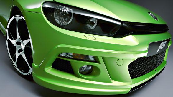 Обои Зелёное авто Volkswagen Scirocco