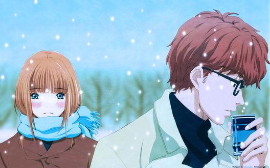 Обои Аюми Ямада и Такуми Маяма из аниме «Мёд и Клевер / Honey and Clover» зимой