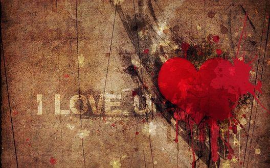 Обои Нарисованное краской сердце (I LOVE U)