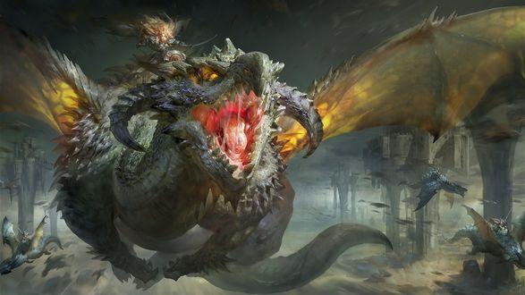 Обои Люди оседлали драконов и во главе с девушкой и её драконом летят на замок