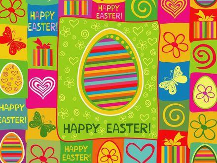 Обои Пасхальное яйцо на фоне яркого орнамента (Happy Easter! / Счастливой Пасхи!)