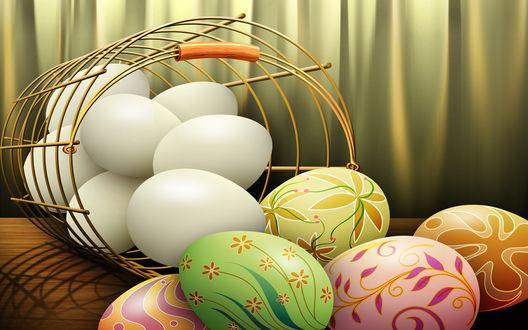 Обои Крашенные и не крашенные яйца выкатились из корзины на стол