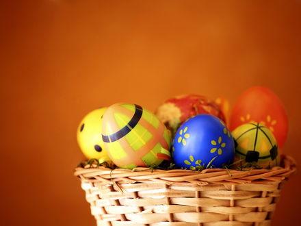 Обои Пасхальные яйца разных цветов лежат в лукошке