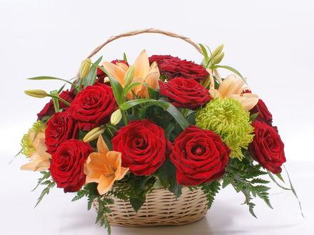 Обои Корзина с красными розами и оранжевыми лилиями