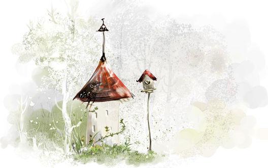 Обои Сказочный домик и скворечник в лесу