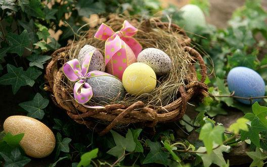 Обои Пасхальные яйца в корзинке