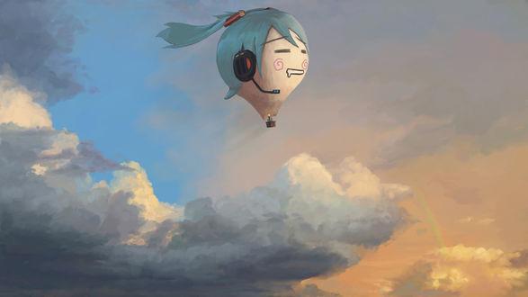 Обои Воздушный шар в виде головы вокалоида Хатсунэ Мику летит по вечернему небу
