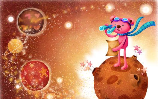 Обои Мишка с шарфом и листком в лапах, стоит на планете и смотрит в бинокль