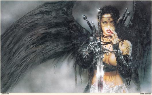 Обои Luis Royo - Dark Elfs Kiss / Поцелуй темного эльфа
