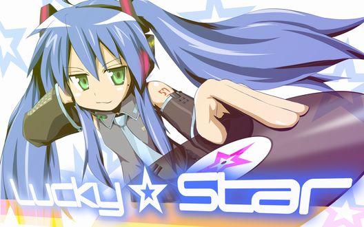 Обои Кона-тян из аниме Счастливая Звезда косплеит вокалоида Хатсунэ Мику (Lucky Star)