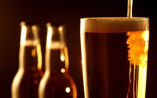 Обои Пенистый напиток, пиво в стакане