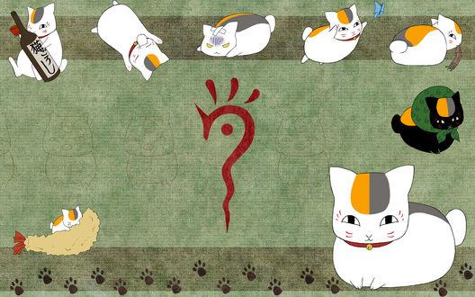 Обои Nyanko-sensei / Котя-сенсей из аниме Тетрадь дружбы Нацумэ / Natsume Yuujinchou / Natsume`s Book of Friends