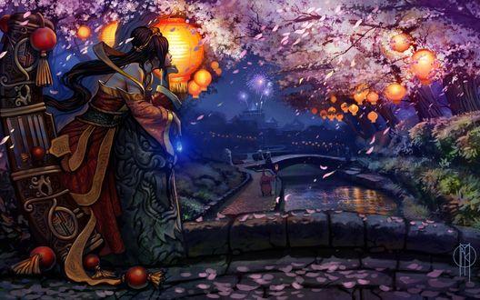 Обои Сона / Sona из игры Лига Легенд / League of Legends смотрит с моста на городок возле сакуры
