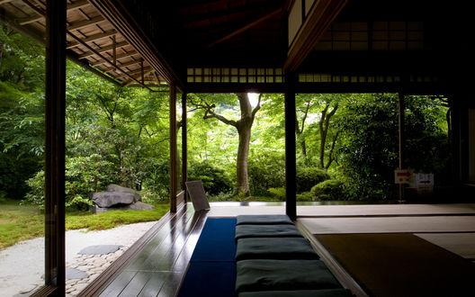 Обои Терраса для медитации на свежем воздухе, окруженная деревьями