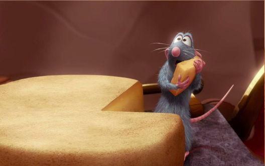 Обои Ratatouille / Рататуй украл кусочек сыра и пытается спрятать его держа двумя лапами