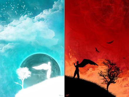 Обои Ангел и демон, рай и ад (Heaven / Hell)