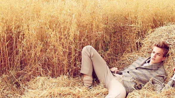 Обои Симпатичный парень в пиджаке лежит на сене спелой пшеницы
