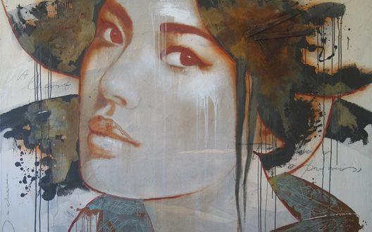 Обои Граффити в виде девушки азиатки