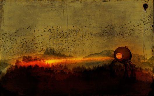 Обои Стая ворон в небе. Много ворон на рисунке и что-то похожее на марсианский треножник, из которого вырываются лучи смерти