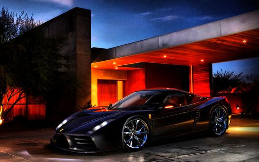 Обои Чёрное Ferrari Enzo / Феррари Энзо стоит у дома