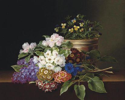 Обои Натюрморт с цветами (Художник JENSEN Johan Laurentz)
