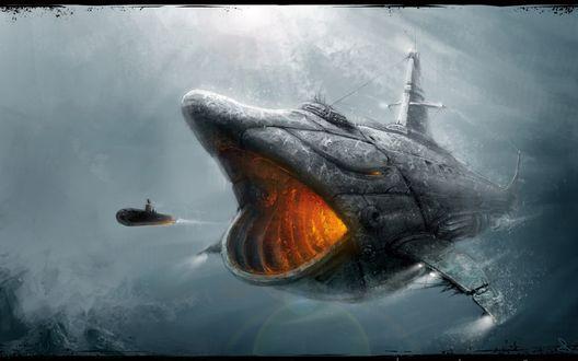 Обои Гигантская, подводная лодка в виде акулы,открыв пасть гонится за не большой подлодкой