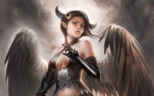 Обои Воинственная девушка-ангел